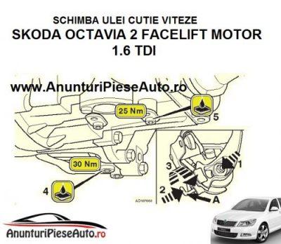 Schimba ulei transmisie pt cutie viteze manuala Skoda Octavia 2 Facelift 1.6 TDI