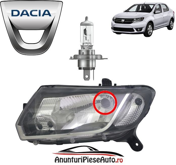 Dacia Logan 2 II 2012-2016 model bec din far pt faza lunga